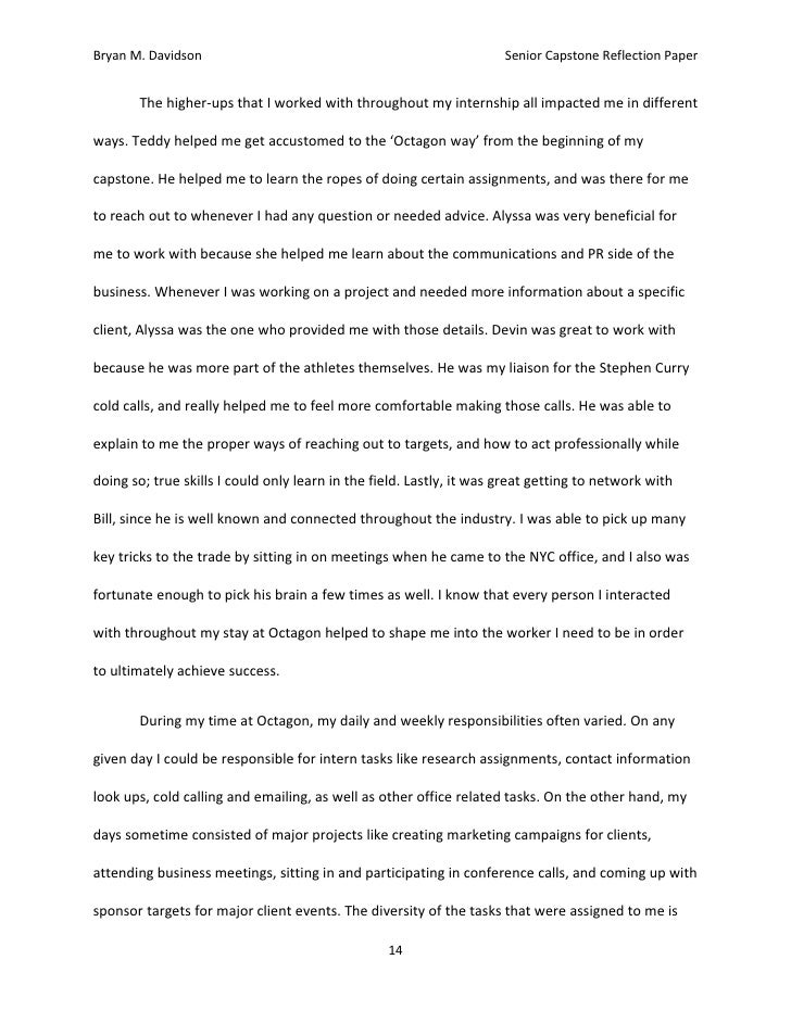 octagon reflection paper 13 14 bryan m davidson senior capstone reflection paper
