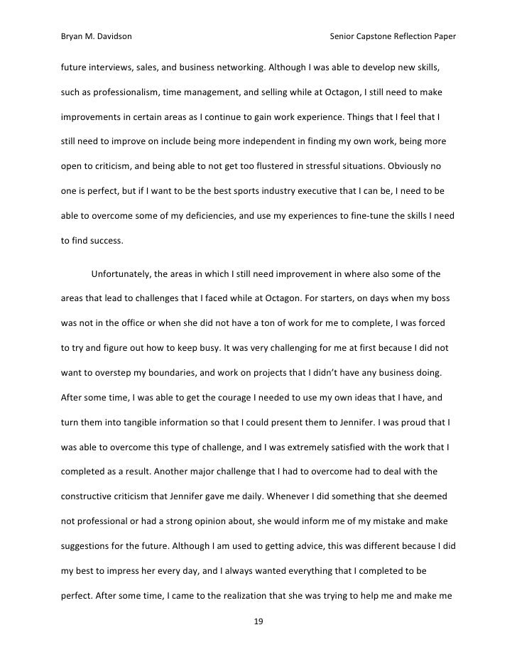 Sample Senior Project Reflection Essay Layout Essay for you – Reflective Essay