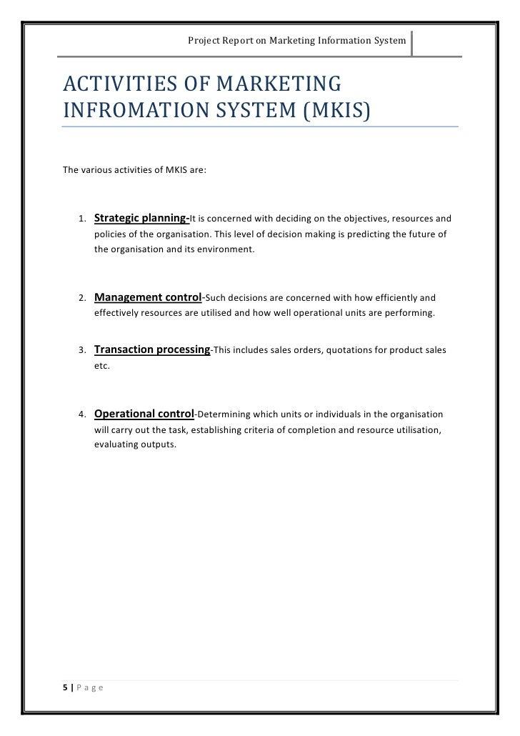 Basic marketing project report