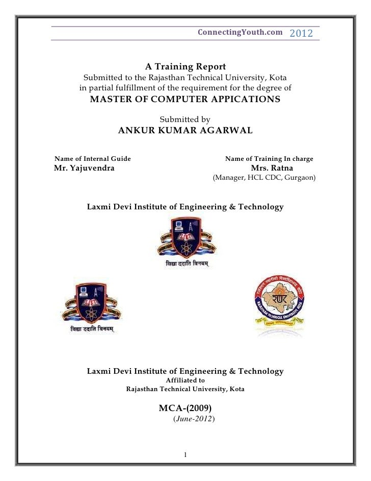 ConnectingYouth.com        2012                         A Training Report        Submitted to the Rajasthan Technical Univ...