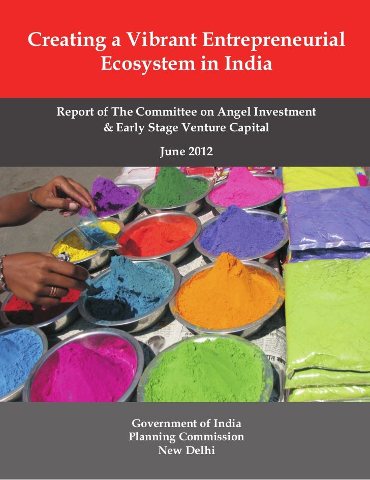 Creating a Vibrant Entrepreneurial       Ecosystem in India   Report of The Committee on Angel Investment           & Earl...