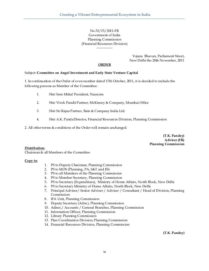 Creating a Vibrant Entrepreneurial Ecosystem in India                                             No.32/15/2011-FR      ...