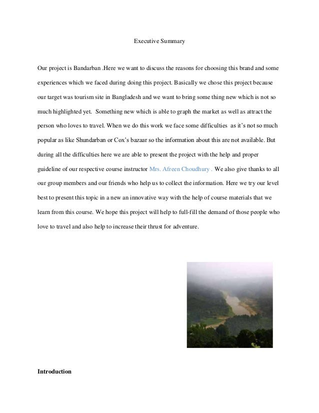 Executive SummaryOur project is Bandarban .Here we want to discuss the reasons for choosing this brand and someexperiences...