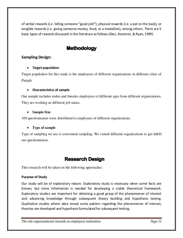 final report on motivations for techer Employee motivation project report  every individual carries a set of inner motivations and drives that influence the  this final example compares the.