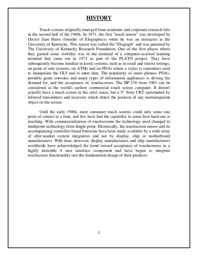 research paper on zforce touch screen