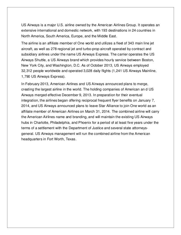 Project Report on Merger of American airlines and US airlines