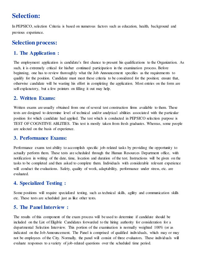 Pepsi Co Pakistan Human Resource Management Department Report