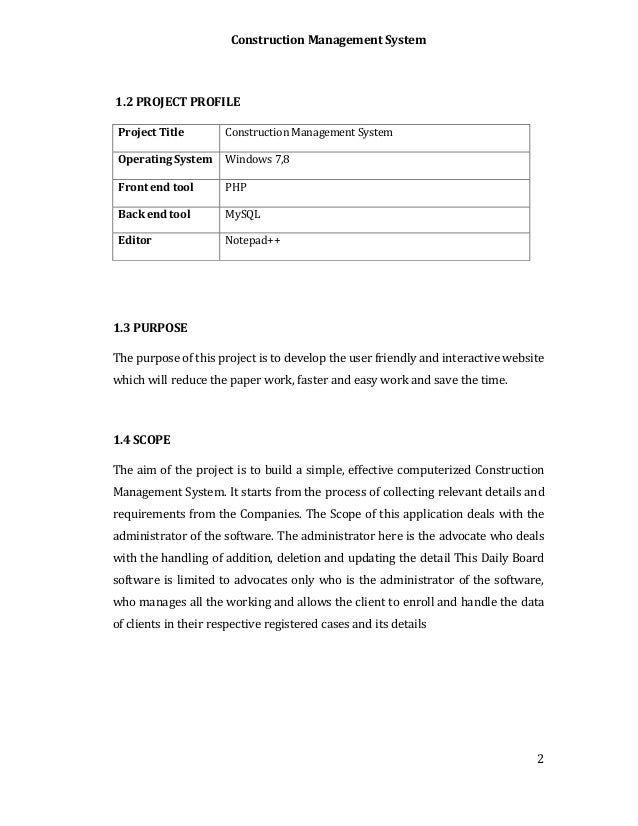 Construction Management System : Construction management system final year report