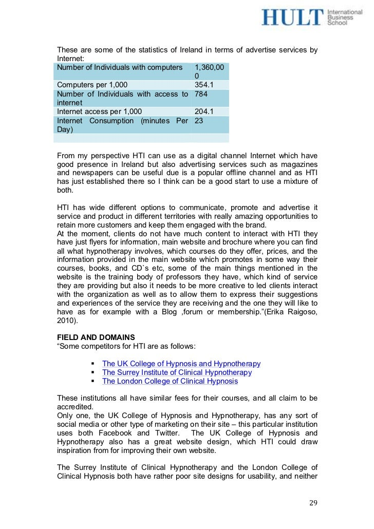 Consulting report for HTI – Consulting Report