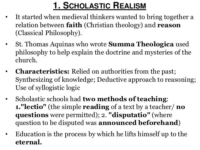 a comparison between an idealist and realist school system