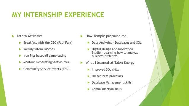A Look at MIS Work Experience - Summer Internship