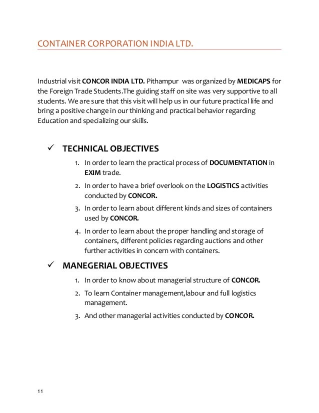 A Sample On Industrial Visit Report For Mba Students By