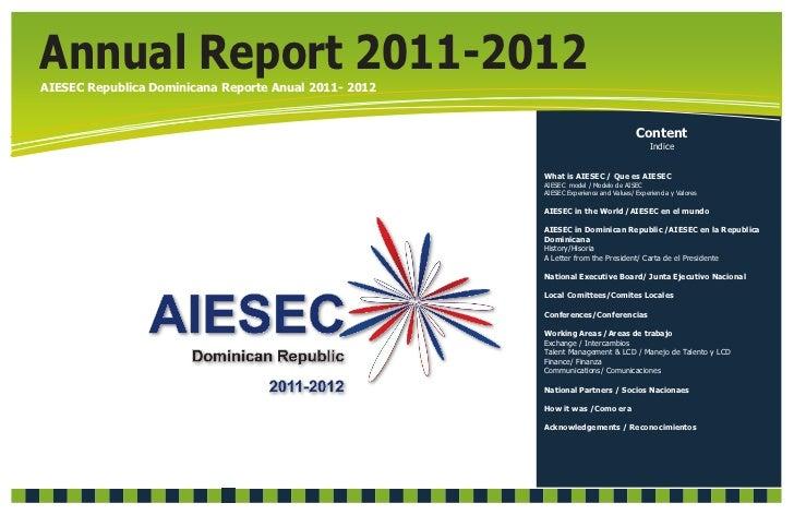 Annual Report 2011-2012AIESEC Republica Dominicana Reporte Anual 2011- 2012                                               ...