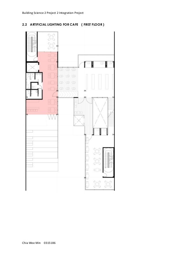 Building Science 2 Project 2 Integration Project Chia Wee Min 0315186 2.2 ARTIFICIAL LIGHTING FOR CAFE ( FIRST FLOOR )