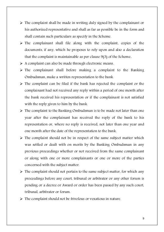 Banking Ombudsman Complaints Profile