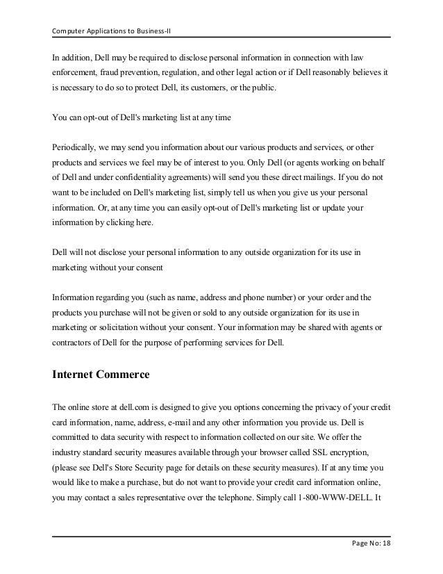 Dell Inc Complete Report On E Business