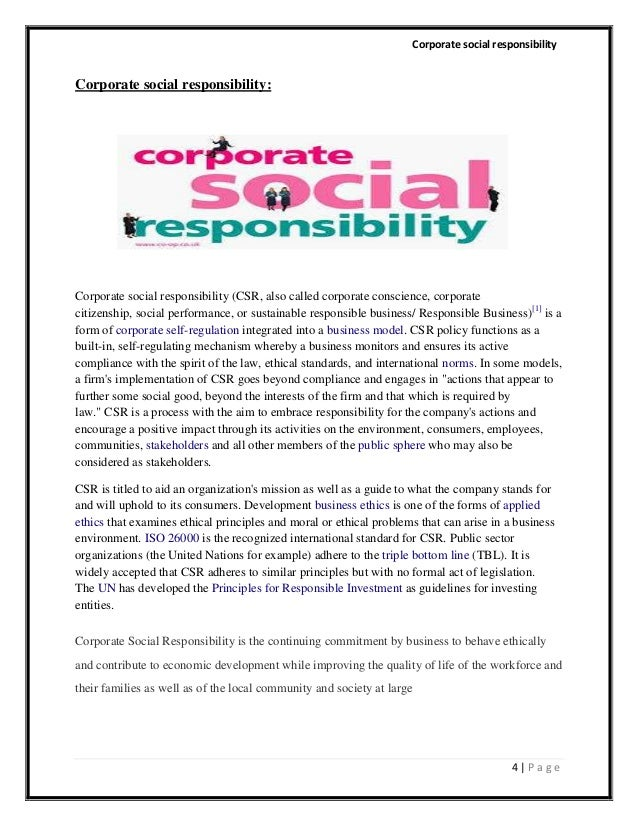 "csr final paper The corporate social responsibility initiative at the harvard kennedy school of government is a the views expressed in this paper are those of the author and do not imply endorsement by the corporate the term ""engagement"" captures the various mechanisms that have been used by organizations to listen to, and."