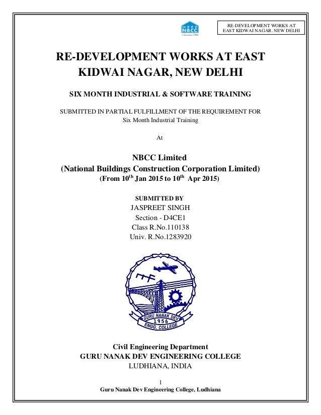 1 Guru Nanak Dev Engineering College, Ludhiana RE-DEVELOPMENT WORKS AT EAST KIDWAI NAGAR, NEW DELHI RE-DEVELOPMENT WORKS A...