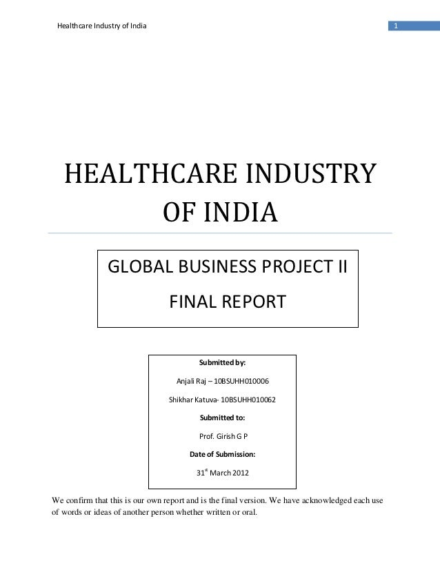 Healthcare Industry of India                                                                    1   HEALTHCARE INDUSTRY   ...