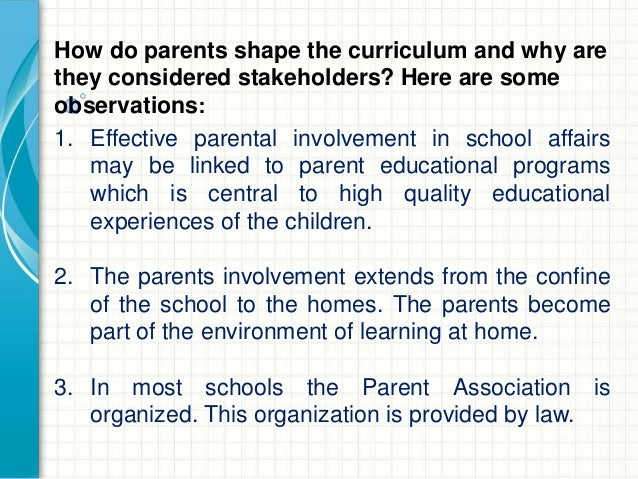 Implementing the curriculum (Role of Stakeholders ...