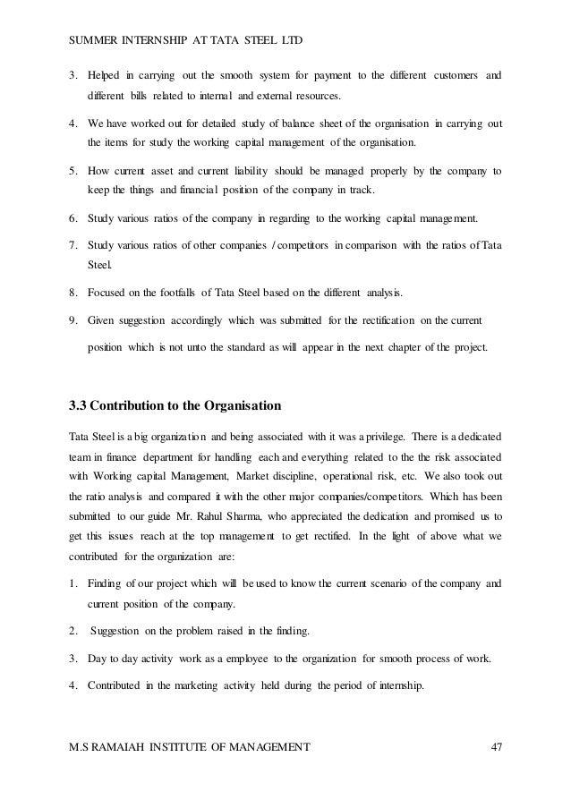 final report in working capital management of tata steel ltd