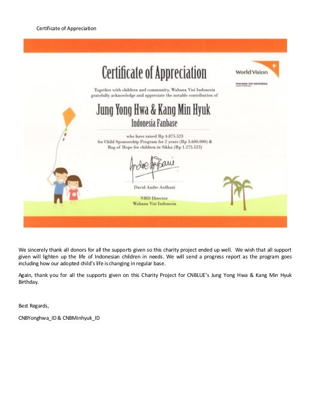 Final report of charity project for yonghwa minhyuk birthday by cnb certificate of appreciation yadclub Image collections
