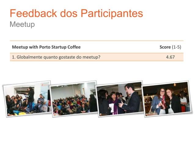 Feedback dos ParticipantesMeetupMeetup with Porto Startup Coffee            Score (1-5)1. Globalmente quanto gostaste do m...
