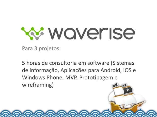 Para 3 projetos:5 horas de consultoria em software (Sistemasde informação, Aplicações para Android, iOS eWindows Phone, MV...