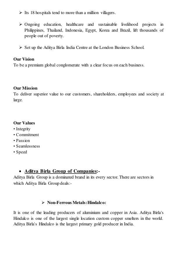 aditya birla money internship project report This is a research report on finance project on working capital management and its appraisal : birla corporation ltd by pramit  aditya birla group honored.