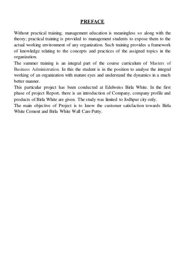 Birla White Cement : Internship training report on brand awareness analysis