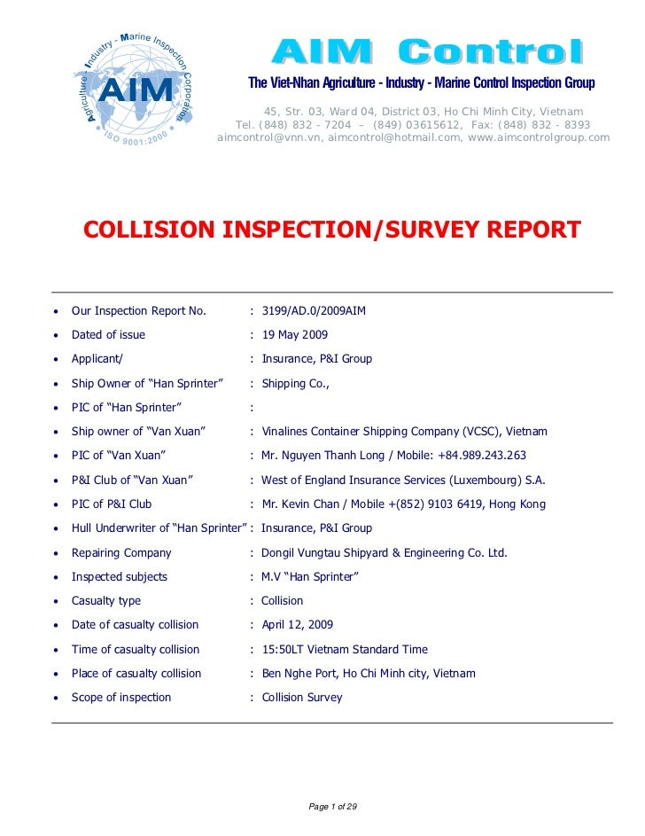 Final Report Sample Of Collision Survey