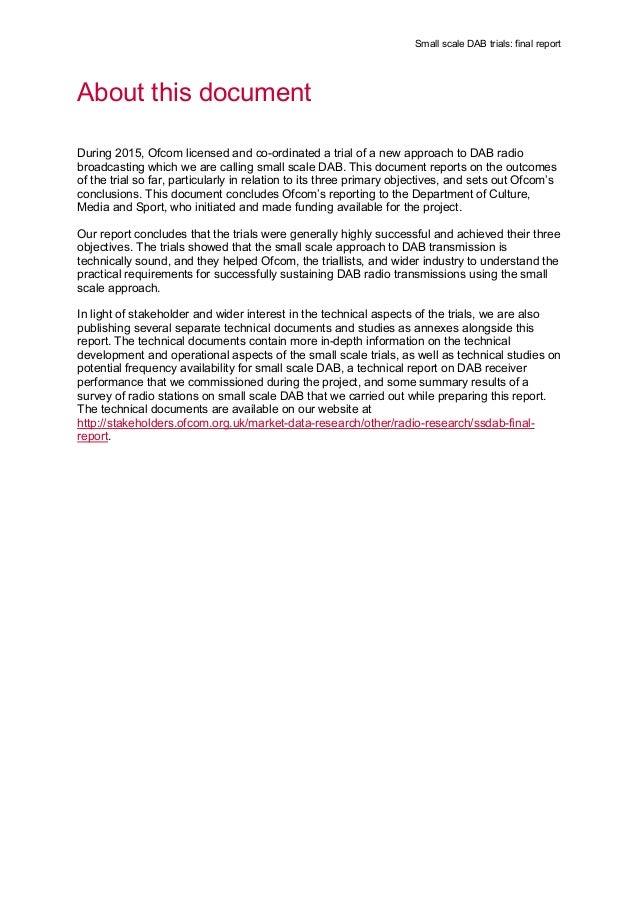 Final report small scale dab OFCOM (UK) Slide 2