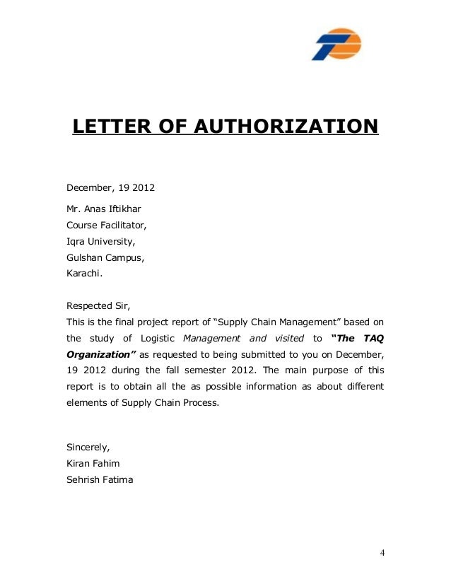 Delivery Order Authorization Letter For Delivery Order