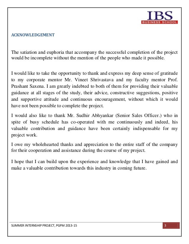 preface for summer internship report Acknowledgement sample for internship report the internship opportunity i had with [name of the company] was a great chance for learning and professional development.