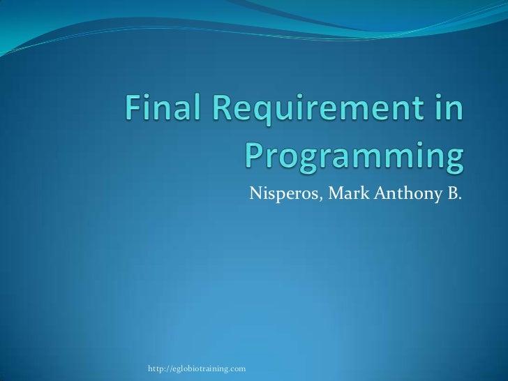 Nisperos, Mark Anthony B.http://eglobiotraining.com