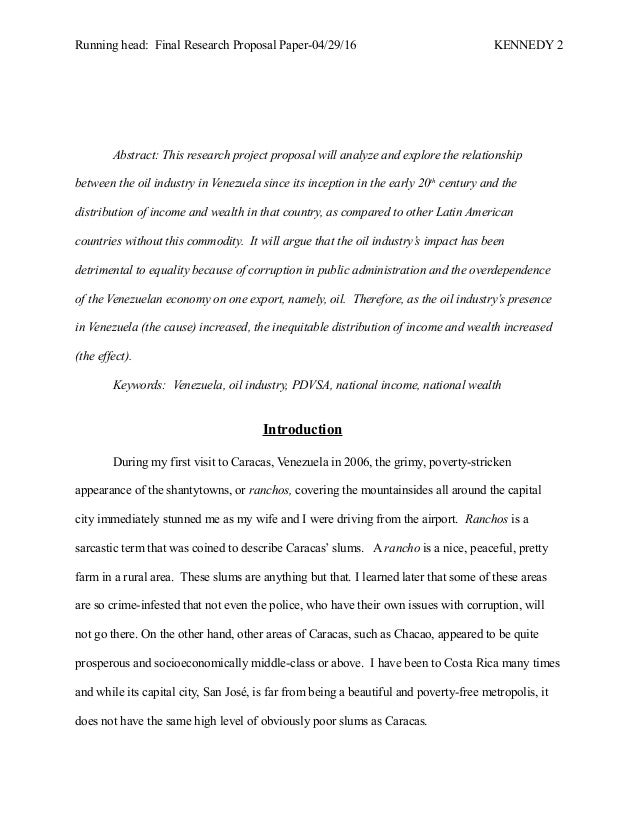 final research proposal paper oil amp venezuela   2 running head final research proposal