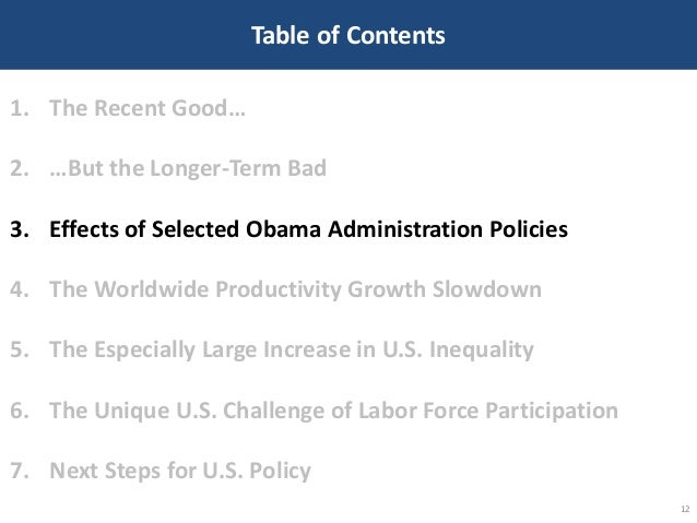 Table of Contents 12 1. The Recent Good… 2. …But the Longer-Term Bad 3. Effects of Selected Obama Administration Policies ...