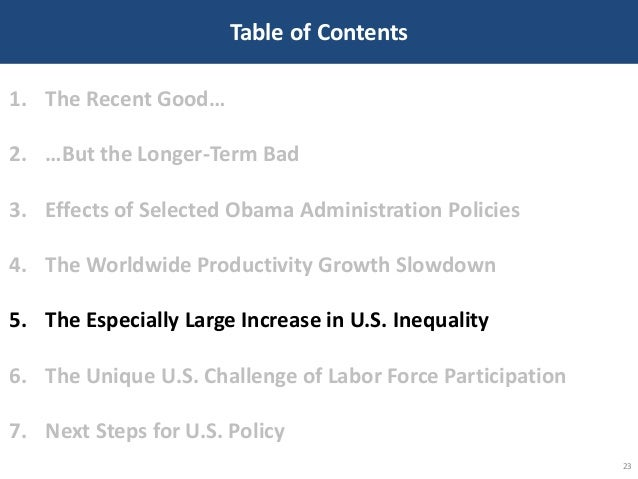 Table of Contents 23 1. The Recent Good… 2. …But the Longer-Term Bad 3. Effects of Selected Obama Administration Policies ...