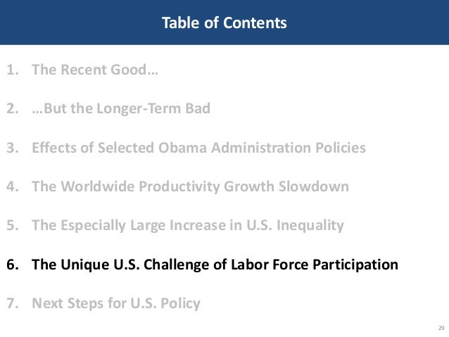 Table of Contents 29 1. The Recent Good… 2. …But the Longer-Term Bad 3. Effects of Selected Obama Administration Policies ...