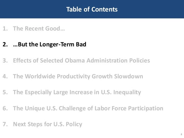 Table of Contents 8 1. The Recent Good… 2. …But the Longer-Term Bad 3. Effects of Selected Obama Administration Policies 4...