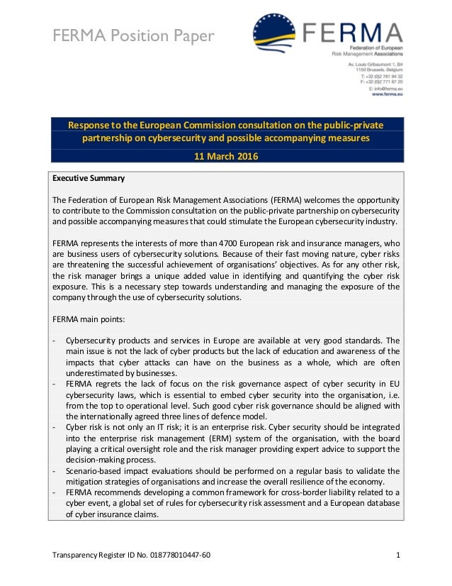 FERMA Position Paper Transparency Register ID No. 018778010447-60 1 Response to the European Commission consultation on th...