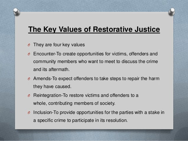 restorative justice 2 essay Essay on restorative justice: comparative studies 947 words 4 pages when considering studies in corrections on a global scale it is important to understand how to utilize the most applicable method to gather knowledge.