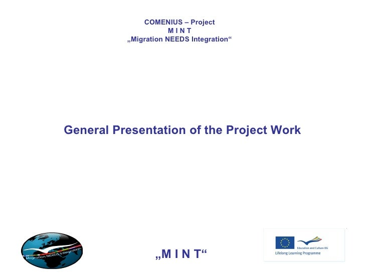 "COMENIUS – Project M I N T "" Migration NEEDS Integration"" General Presentation of the Project Work "" M I N T"""