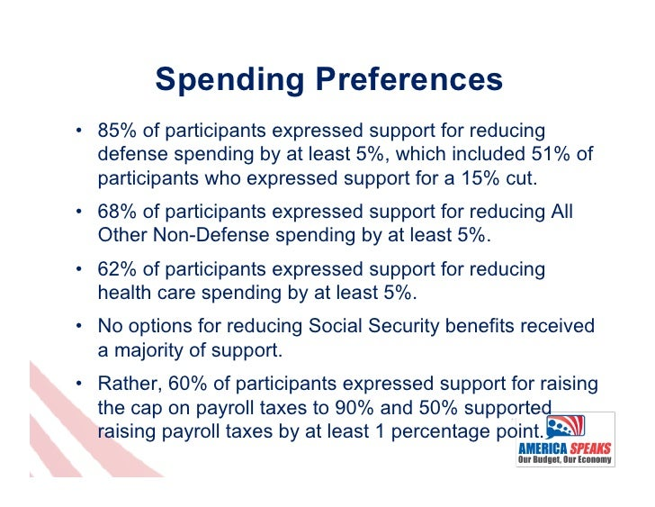 Spending Preferences• 85% of participants expressed support for reducing   defense spending by at least 5%, which include...