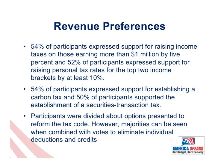 Revenue Preferences• 54% of participants expressed support for raising income   taxes on those earning more than $1 milli...