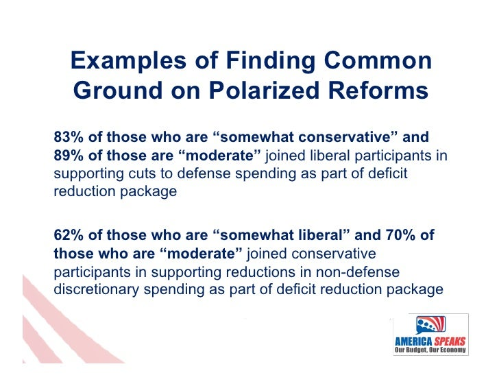 """Examples of Finding Common  Ground on Polarized Reforms83% of those who are """"somewhat conservative"""" and89% of those are """"m..."""
