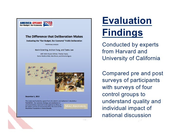 EvaluationFindingsConducted by expertsfrom Harvard andUniversity of CaliforniaCompared pre and postsurveys of participants...