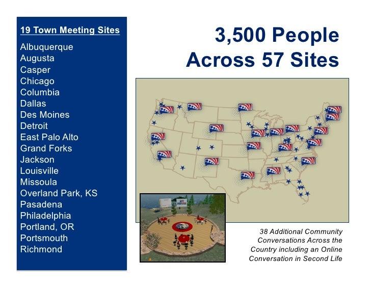 19 Town Meeting SitesAlbuquerque                          3,500 PeopleAugustaCasper                        Across 57 Sites...