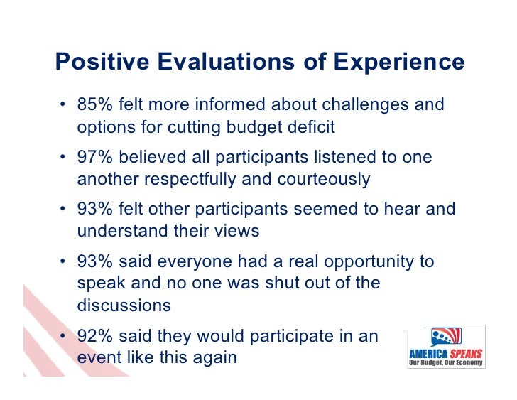 Positive Evaluations of Experience• 85% felt more informed about challenges and   options for cutting budget deficit• 97...