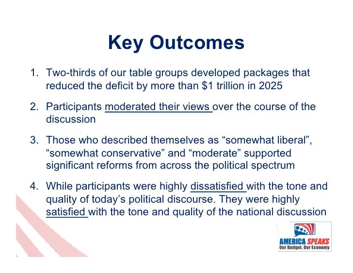 Key Outcomes1. Two-thirds of our table groups developed packages that    reduced the deficit by more than $1 trillion in ...